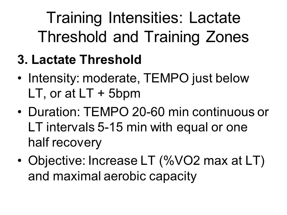 Training Intensities: Lactate Threshold and Training Zones 3.