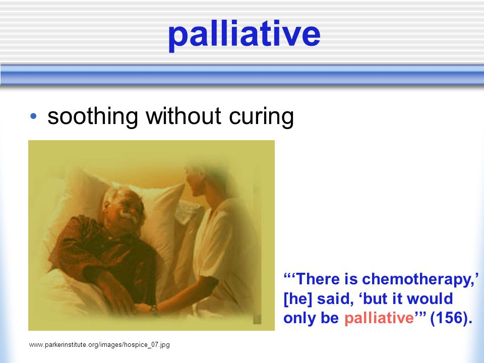 palliative soothing without curing www.parkerinstitute.org/images/hospice_07.jpg 'There is chemotherapy,' [he] said, 'but it would only be palliative' (156).