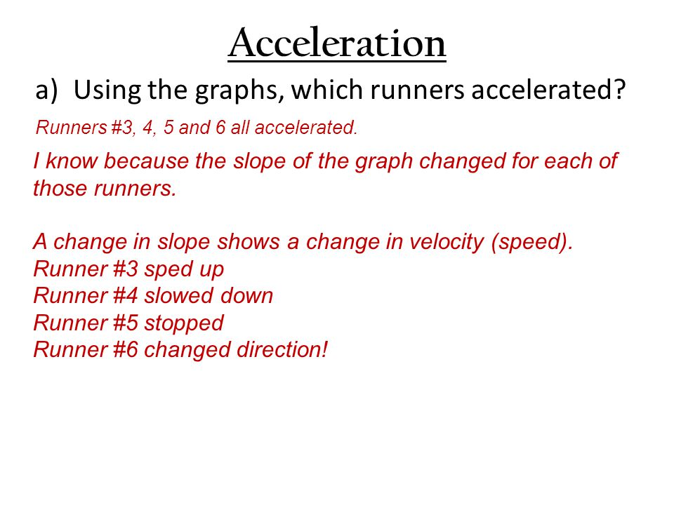 Acceleration a)Using the graphs, which runners accelerated.