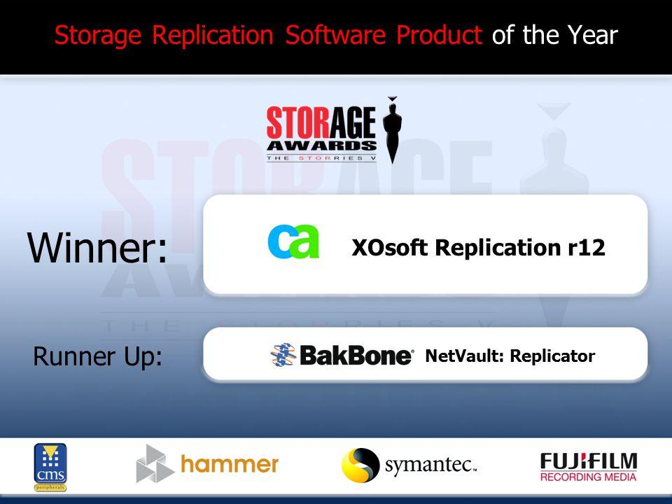 Storage Replication Software Product of the Year Winner: Runner Up: XOsoft Replication r12 NetVault: Replicator