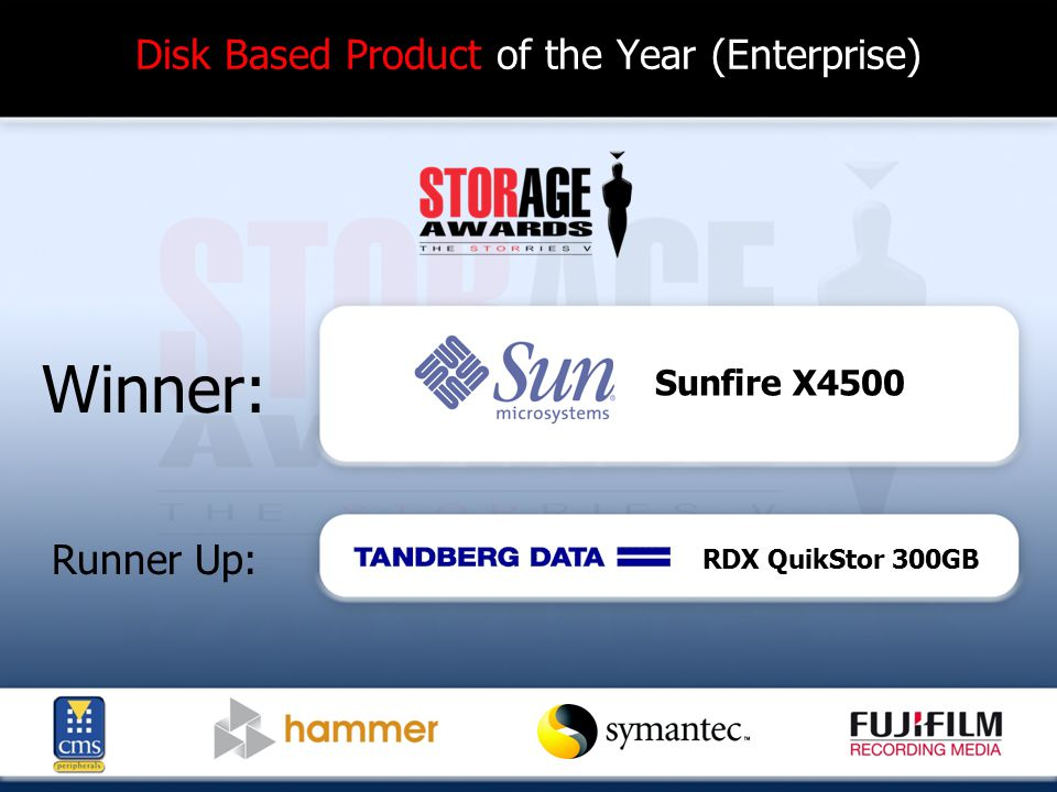 Disk Based Product of the Year (Enterprise) Winner: Runner Up: Sunfire X4500 RDX QuikStor 300GB