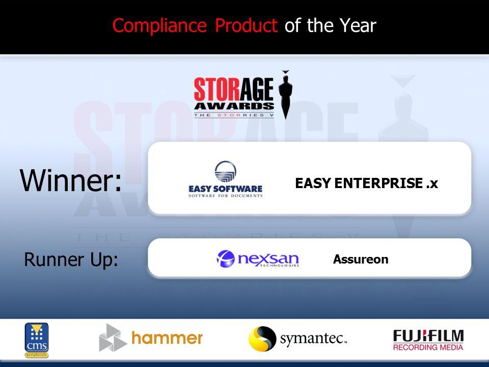 Compliance Product of the Year Winner: Runner Up: EASY ENTERPRISE.x Assureon