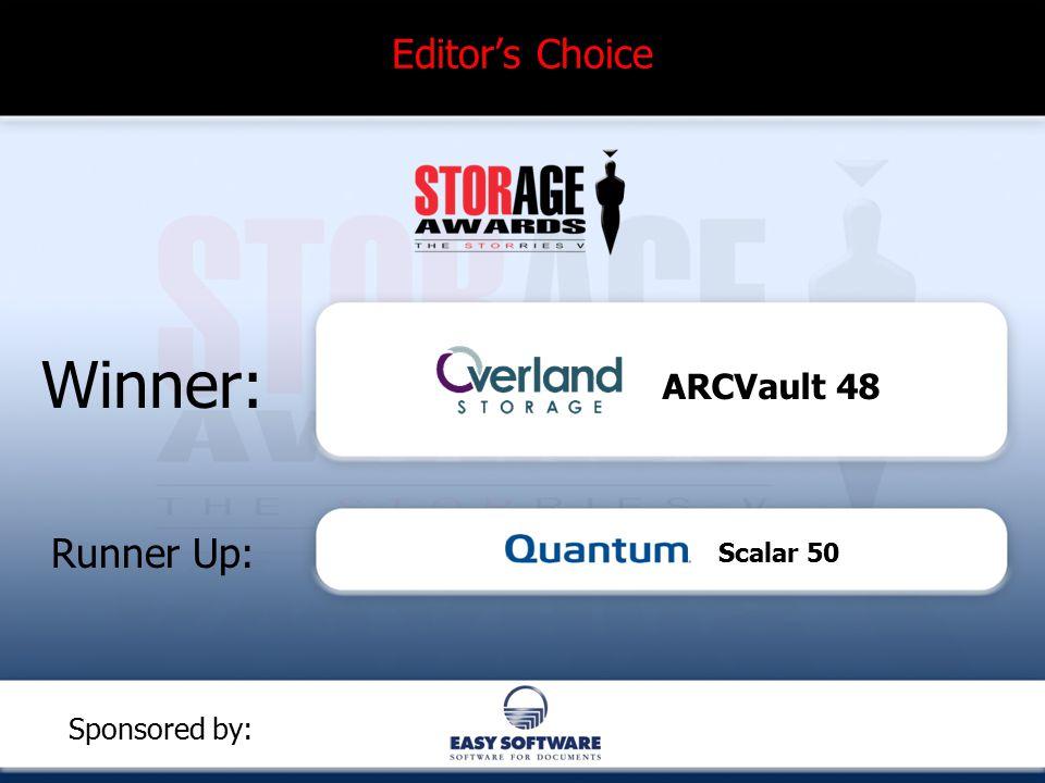 Editor's Choice Winner: Runner Up: Sponsored by: ARCVault 48 Scalar 50