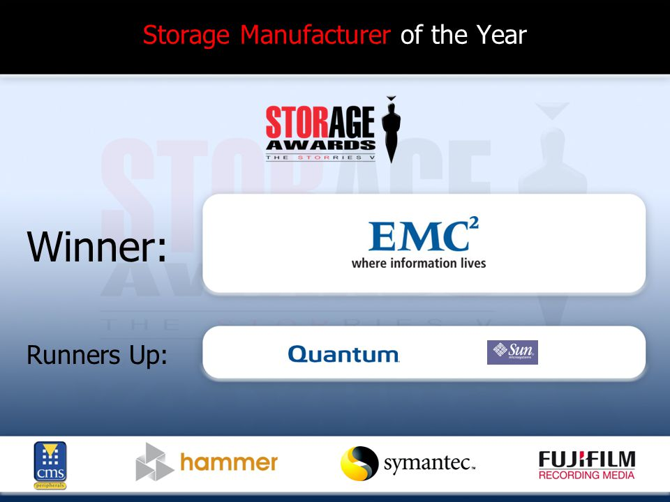Storage Manufacturer of the Year Winner: Runners Up: