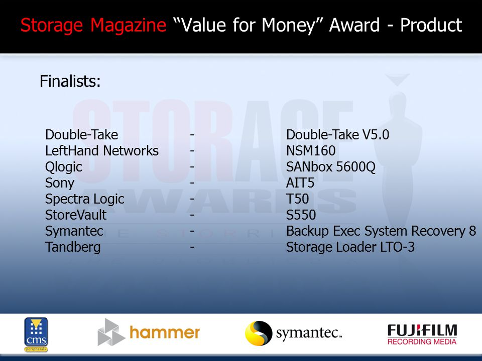 Disk Based Product of the Year (Enterprise) Winner: Runner Up: Sunfire X4500 RDX QuikStor 300GB