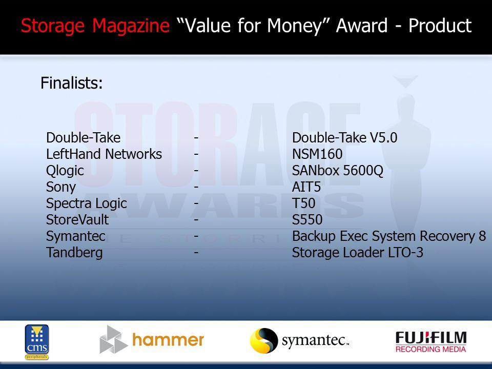 Storage Magazine Value for Money Award - Product Finalists: Double-Take-Double-Take V5.0 LeftHand Networks-NSM160 Qlogic-SANbox 5600Q Sony-AIT5 Spectra Logic-T50 StoreVault-S550 Symantec-Backup Exec System Recovery 8 Tandberg-Storage Loader LTO-3
