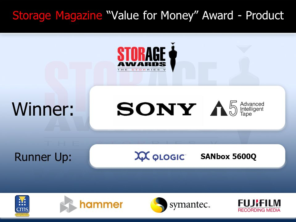 Most Imaginative Storage Advertising Campaign Finalists: AMCC-Expand your Horizons CommVault -Simpana Emulex-Consolidation IBM-Cooling / Green Nexsan-Mean green storage machine Pillar Data-Global Cooling Sepaton-Grow Syncsort-Boxer/Dead End Campaign