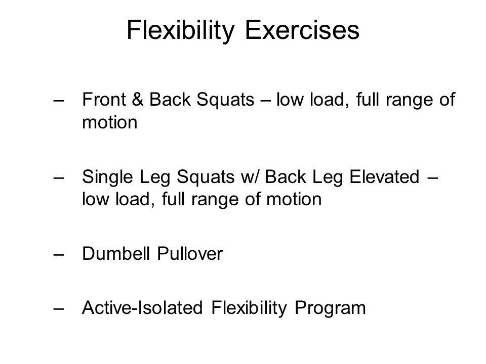 Flexibility Exercises –Front & Back Squats – low load, full range of motion –Single Leg Squats w/ Back Leg Elevated – low load, full range of motion –Dumbell Pullover –Active-Isolated Flexibility Program