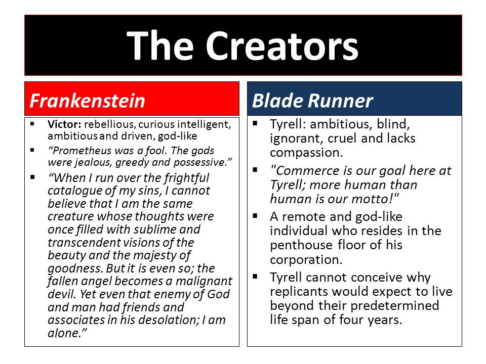 The Creators Frankenstein  Victor: rebellious, curious intelligent, ambitious and driven, god-like  Prometheus was a fool.