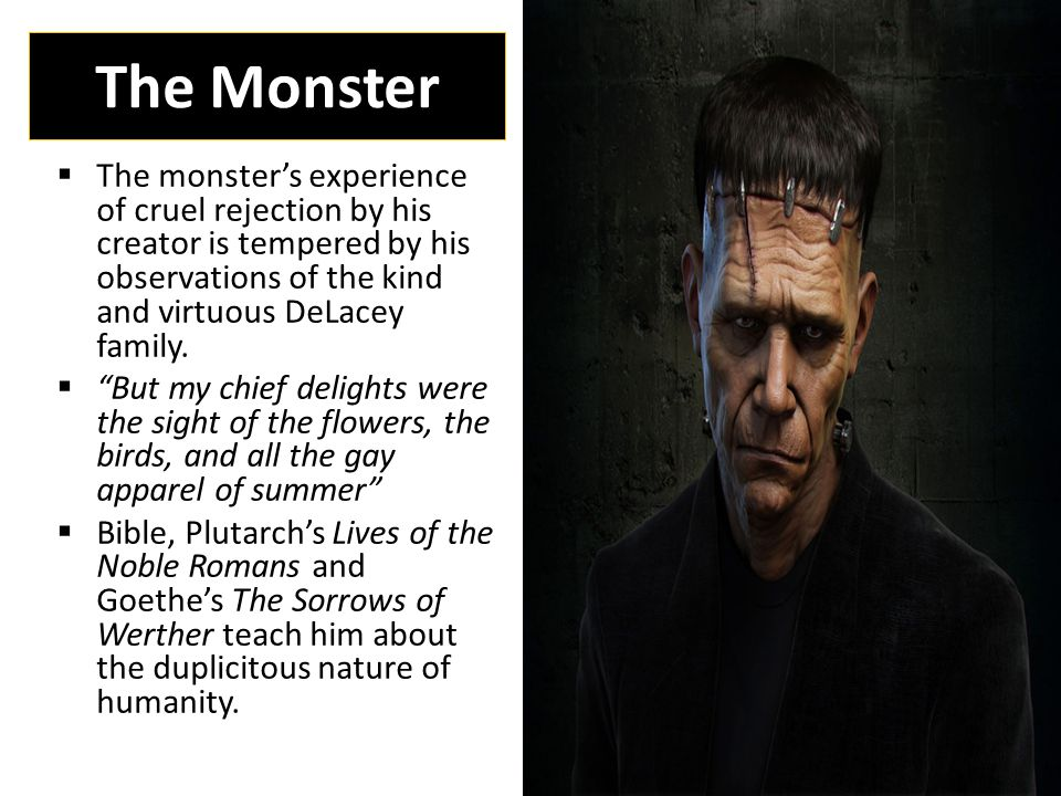 The Monster  The monster's experience of cruel rejection by his creator is tempered by his observations of the kind and virtuous DeLacey family.