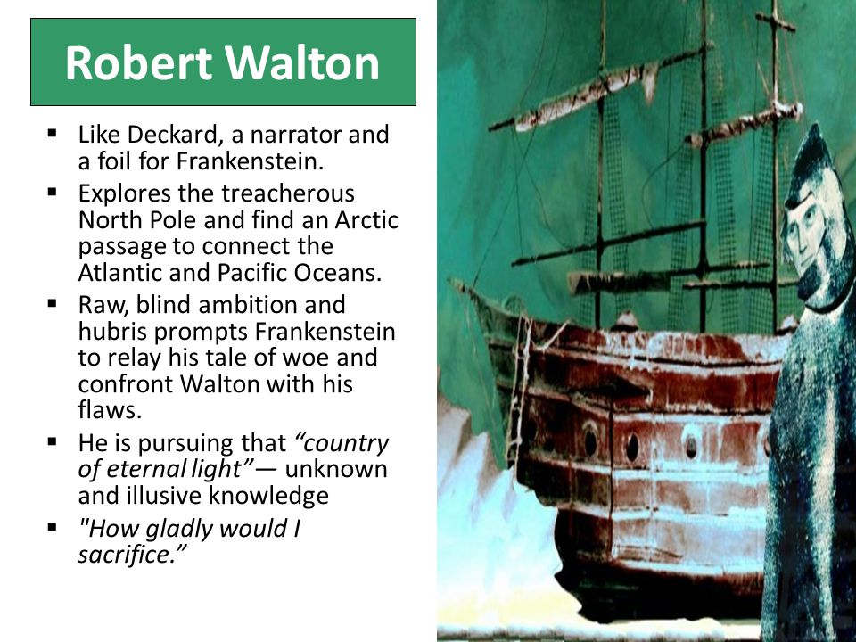 Robert Walton  Like Deckard, a narrator and a foil for Frankenstein.