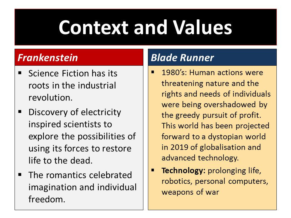 Context and Values Frankenstein  Science Fiction has its roots in the industrial revolution.