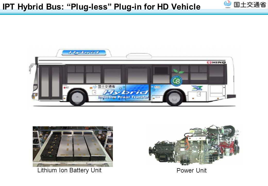 IPT Hybrid Bus: Plug-less Plug-in for HD Vehicle Power Unit Lithium Ion Battery Unit