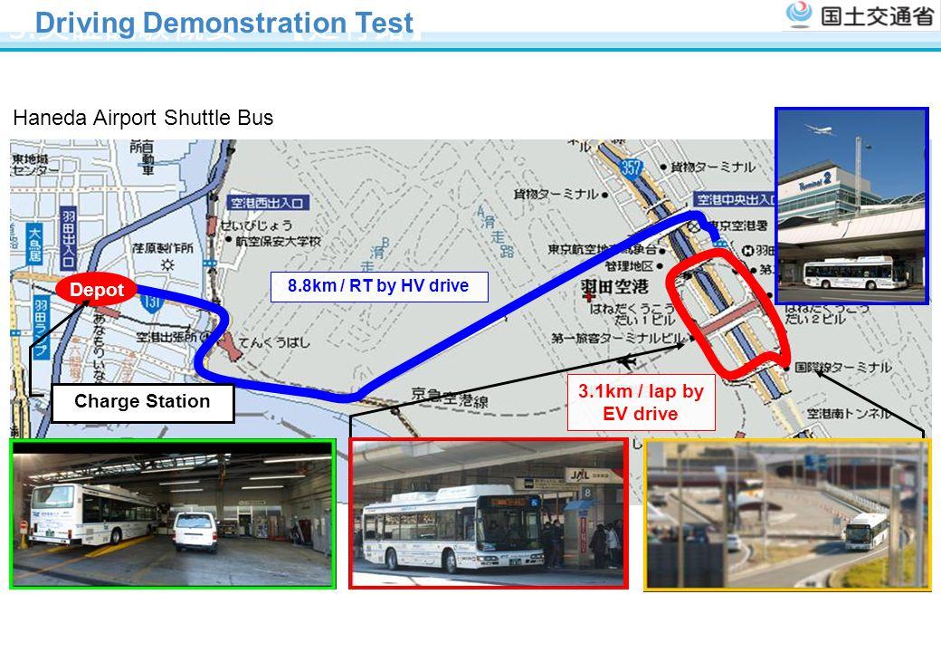 3. 実証試験概要 【走行路】 8.8km / RT by HV drive Depot Charge Station 第一ターミナル 写真 国際線ターミナル 写真 3.1km / lap by EV drive Driving Demonstration Test Haneda Airport S