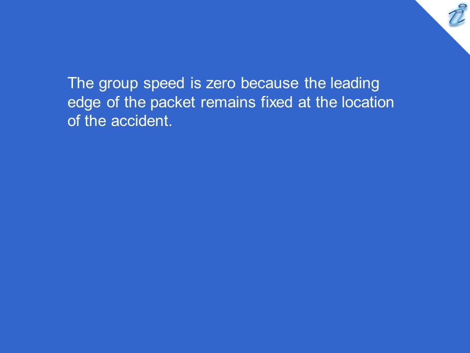 The group speed is zero because the leading edge of the packet remains fixed at the location of the accident.
