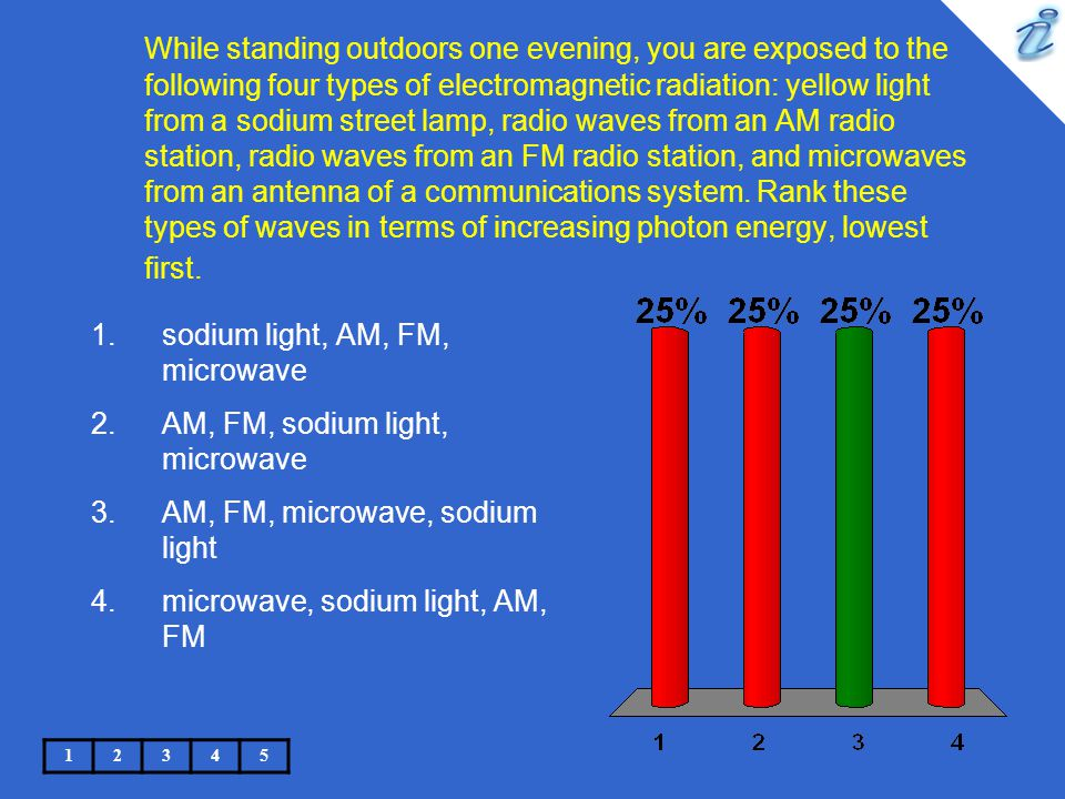While standing outdoors one evening, you are exposed to the following four types of electromagnetic radiation: yellow light from a sodium street lamp, radio waves from an AM radio station, radio waves from an FM radio station, and microwaves from an antenna of a communications system.