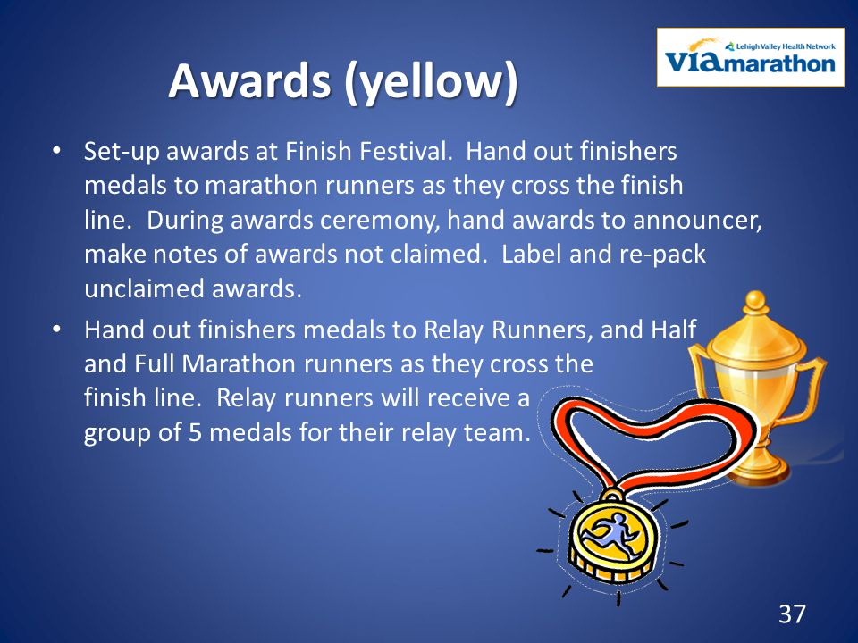 Awards (yellow) Set-up awards at Finish Festival.