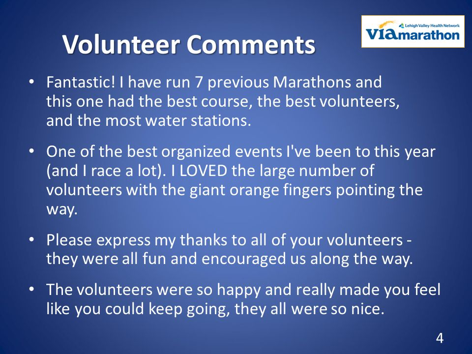 Volunteer Comments Fantastic.