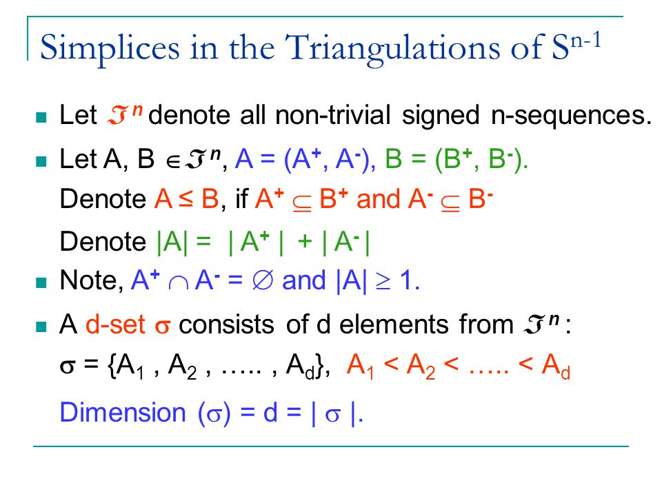 Simplices in the Triangulations of S n-1 A d-set  consists of d elements from  n :  = {A 1, A 2, ….., A d }, A 1 < A 2 < …..