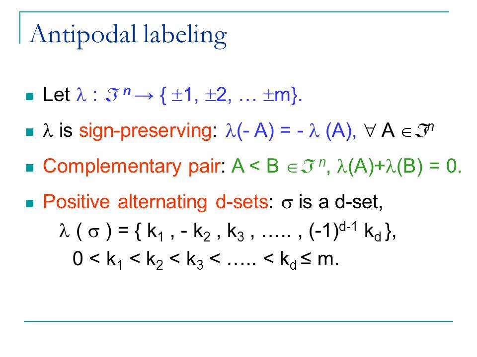 Antipodal labeling Let :  n → {  1,  2, …  m}.