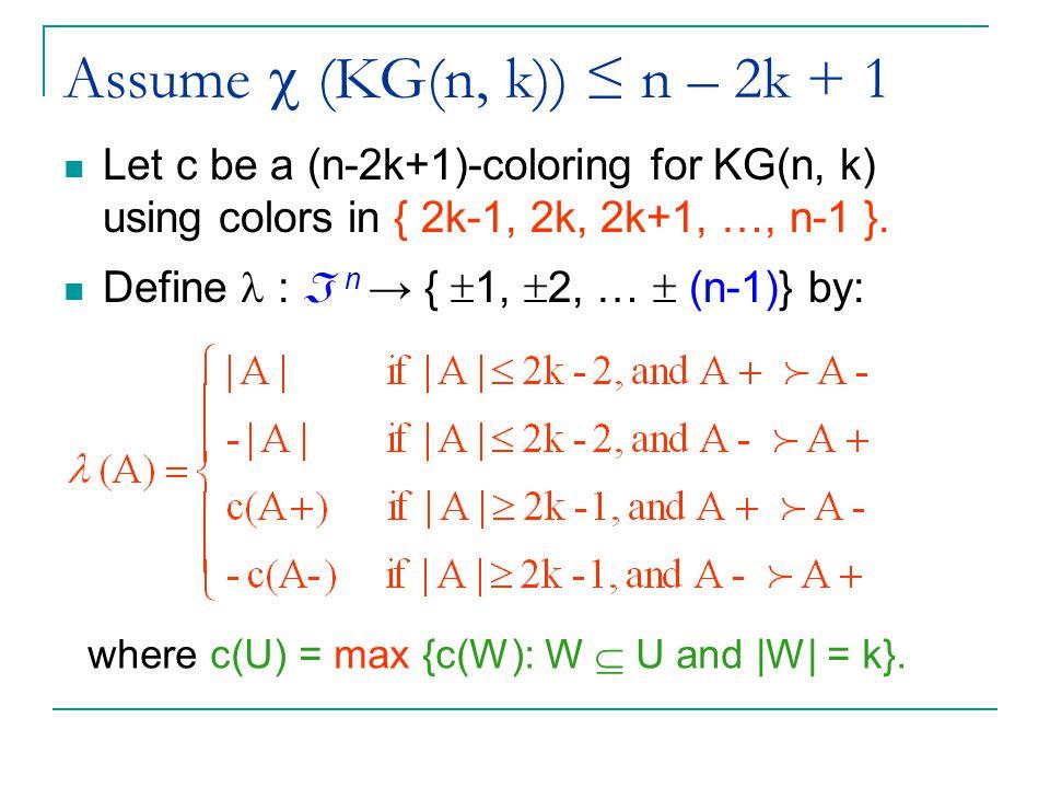 Assume  (KG(n, k)) ≤ n – 2k + 1 Let c be a (n-2k+1)-coloring for KG(n, k) using colors in { 2k-1, 2k, 2k+1, …, n-1 }.