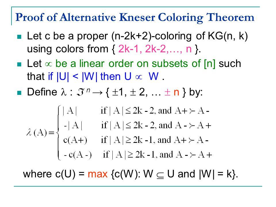 Proof of Alternative Kneser Coloring Theorem Let c be a proper (n-2k+2)-coloring of KG(n, k) using colors from { 2k-1, 2k-2,…, n }.