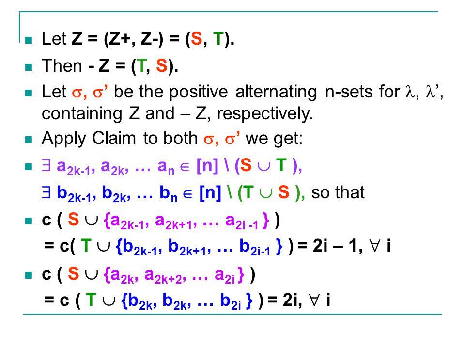 Let Z = (Z+, Z-) = (S, T).Then - Z = (T, S).