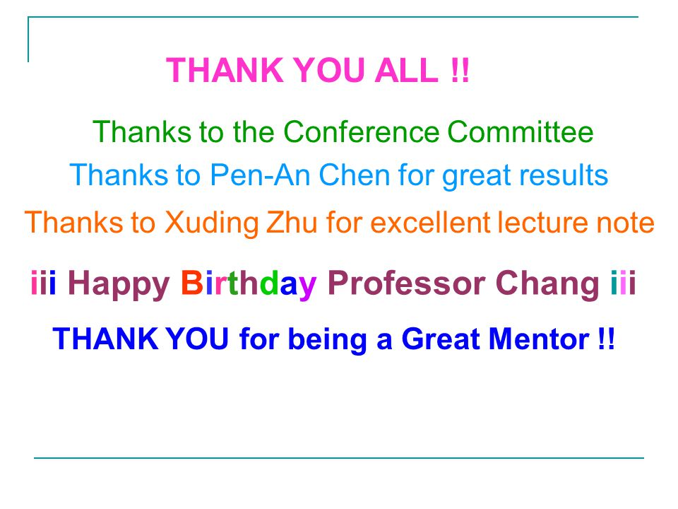 Thanks to Pen-An Chen for great results iii Happy Birthday Professor Chang iii THANK YOU for being a Great Mentor !.
