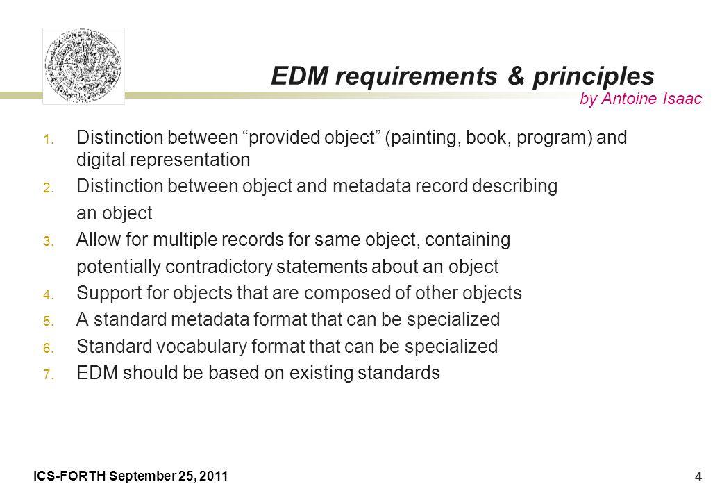 ICS-FORTH September 25, 2011 25 Current status EDM Definitions v5.2 EDM Primer – 05/08/10 (fitting v5.2) http://group.europeana.eu/web/europeanaproject/technicaldocuments/