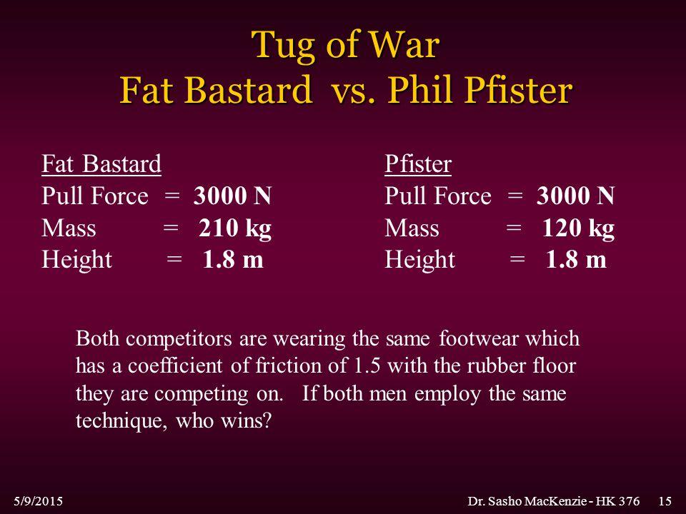 5/9/2015Dr. Sasho MacKenzie - HK 37615 Tug of War Fat Bastard vs. Phil Pfister Fat Bastard Pull Force = 3000 N Mass = 210 kg Height = 1.8 m Pfister Pu
