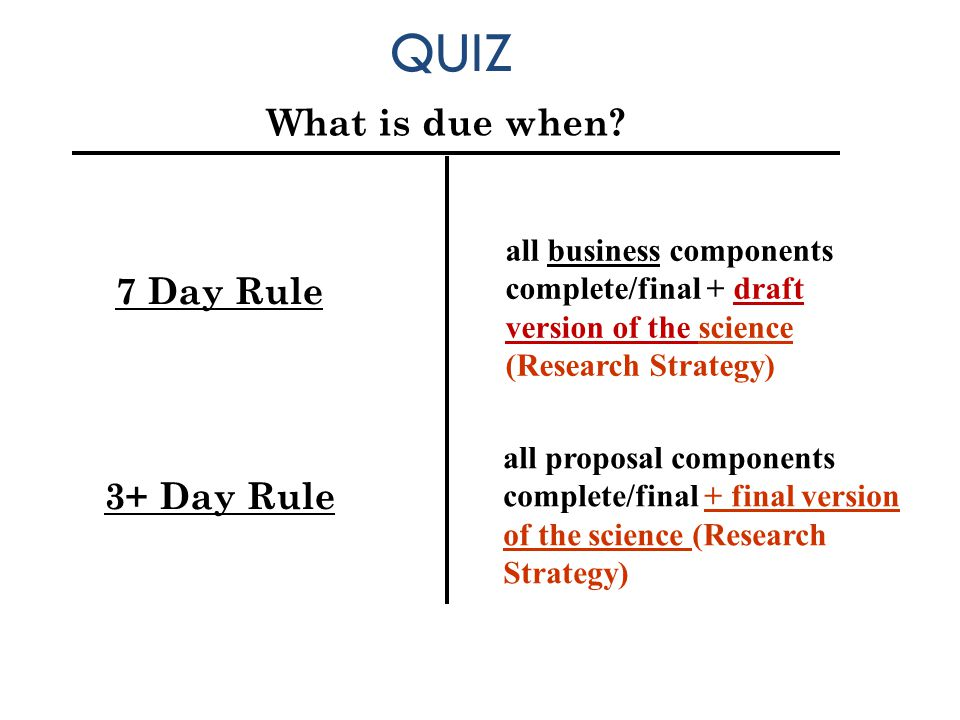 7 Day Rule 7 Day Rule 3+ Day Rule all business components complete/final + draft version of the science (Research Strategy) all proposal components complete/final + final version of the science (Research Strategy) What is due when.