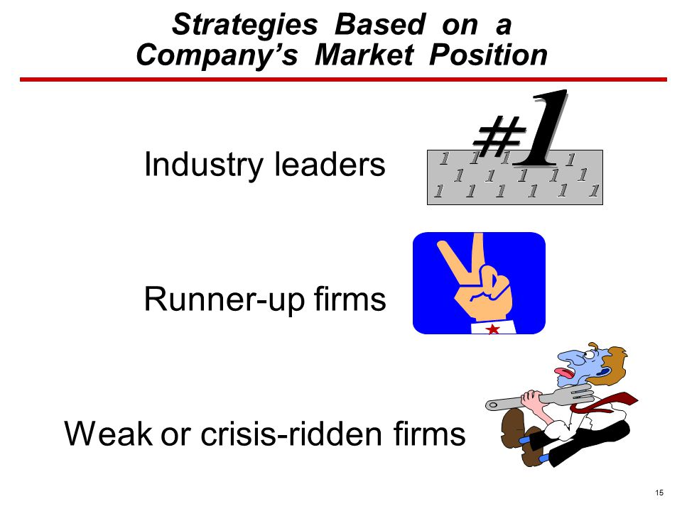 15 Strategies Based on a Company's Market Position Industry leaders Runner-up firms Weak or crisis-ridden firms