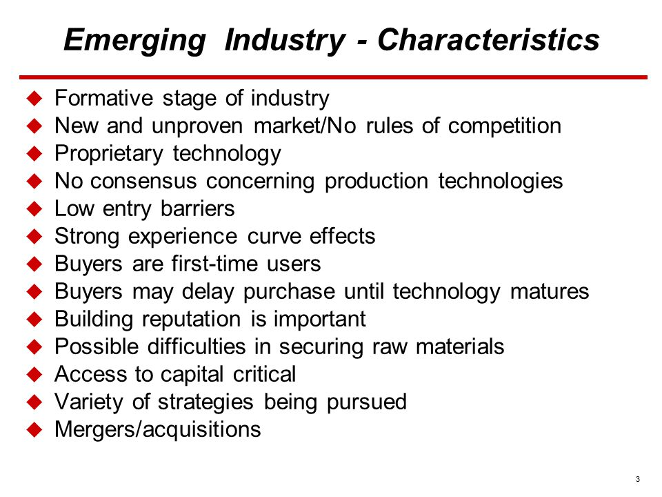 4 Emerging Industry - Strategy Options  Choose a Competitive Strategy  Other Strategic Actions to Consider  Push to perfect technology, product, and product features  Consider merger/acquisition  Capture first-mover advantages  Acquire or form alliances with other companies  Pursue new customers, new user applications and enter new geographic areas  Make it easy and cheap for first-time buyers to try product  Try to build brand loyalty  Use price cuts to attract additional buyers  Form strategic alliances with suppliers