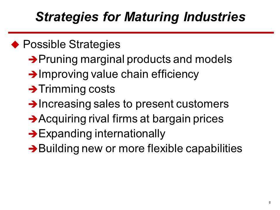 8 Strategies for Maturing Industries  Possible Strategies  Pruning marginal products and models  Improving value chain efficiency  Trimming costs  Increasing sales to present customers  Acquiring rival firms at bargain prices  Expanding internationally  Building new or more flexible capabilities