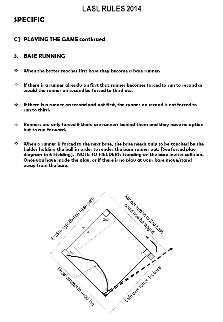 LASL RULES 2014 SPECIFIC C]PLAYING THE GAME continued 3.BASE RUNNING  When the batter reaches first base they become a base runner.