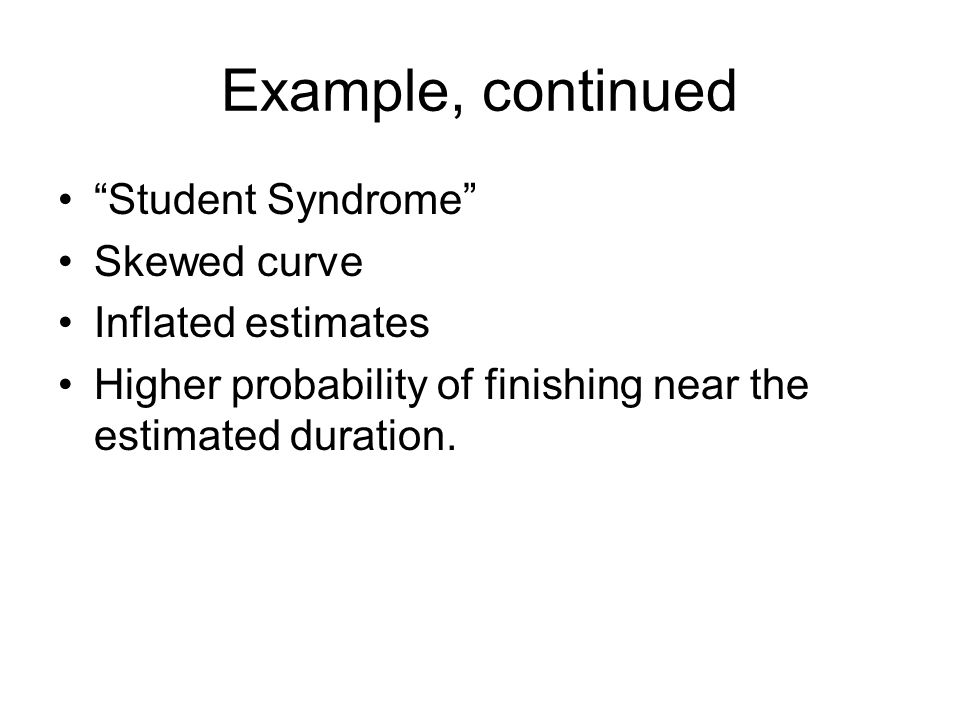 """Example, continued """"Student Syndrome"""" Skewed curve Inflated estimates Higher probability of finishing near the estimated duration."""