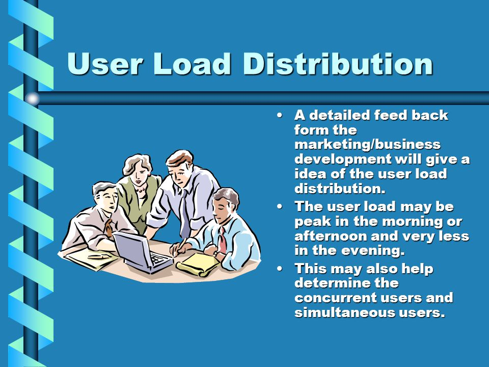 User Load Distribution A detailed feed back form the marketing/business development will give a idea of the user load distribution.