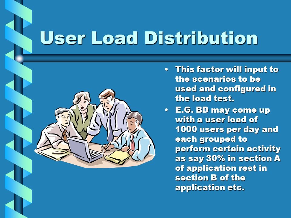 User Load Distribution This factor will input to the scenarios to be used and configured in the load test.