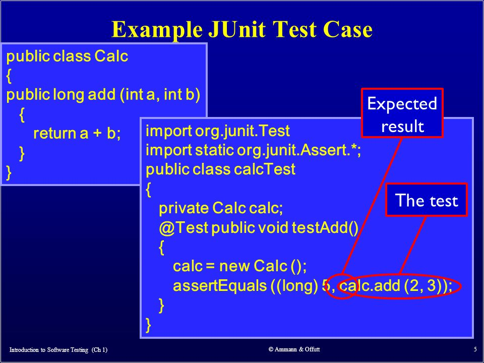 Introduction to Software Testing (Ch 1) © Ammann & Offutt 5 Example JUnit Test Case public class Calc { public long add (int a, int b) { return a + b; } import org.junit.Test import static org.junit.Assert.*; public class calcTest { private Calc calc; @Test public void testAdd() { calc = new Calc (); assertEquals ((long) 5, calc.add (2, 3)); } The test Expected result