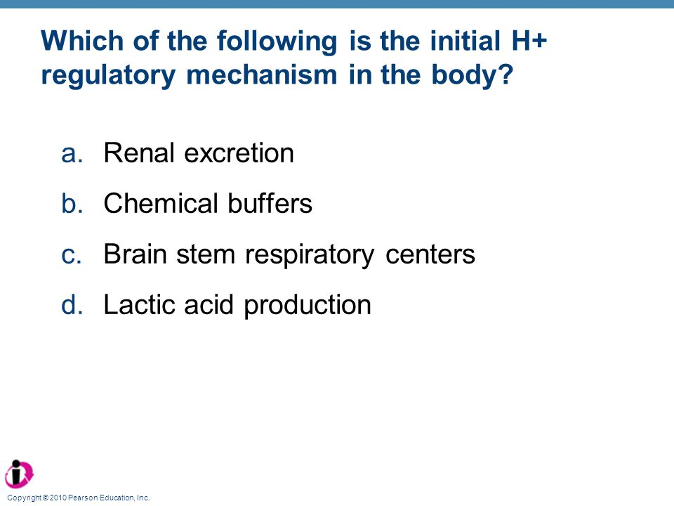 Copyright © 2010 Pearson Education, Inc. Which of the following is the initial H+ regulatory mechanism in the body? a.Renal excretion b.Chemical buffe