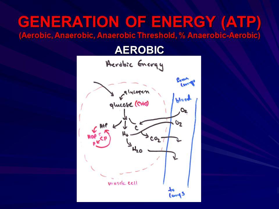GENERATION OF ENERGY (ATP) (Aerobic, Anaerobic, Anaerobic Threshold, % Anaerobic-Aerobic) AEROBIC