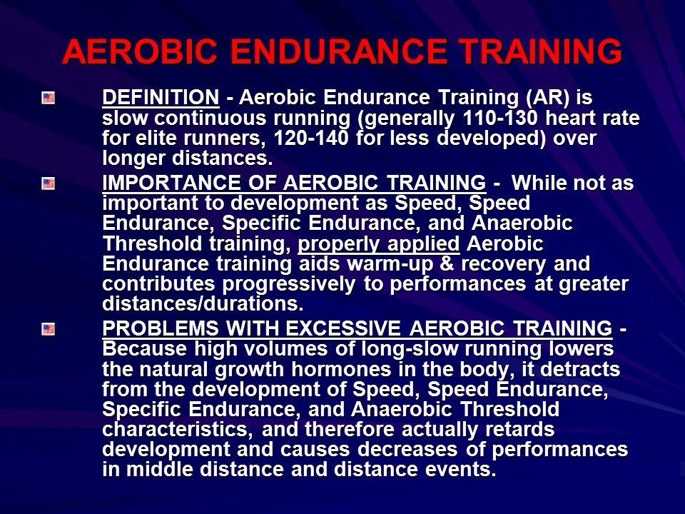 AEROBIC ENDURANCE TRAINING DEFINITION - Aerobic Endurance Training (AR) is slow continuous running (generally 110-130 heart rate for elite runners, 12