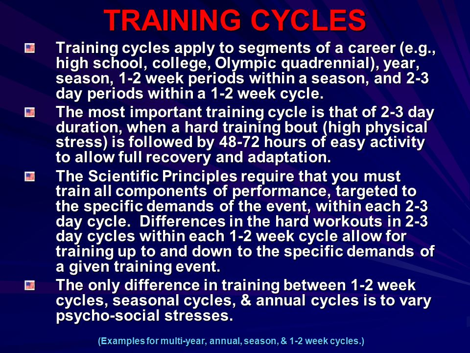 TRAINING CYCLES Training cycles apply to segments of a career (e.g., high school, college, Olympic quadrennial), year, season, 1-2 week periods within