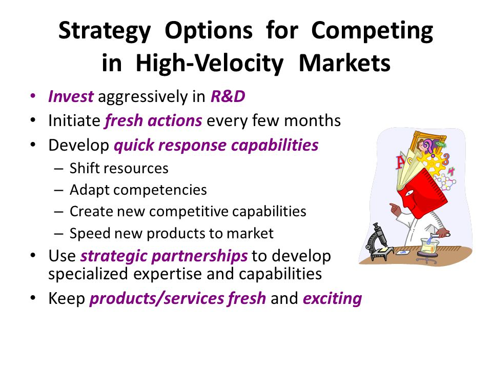 Invest aggressively in R&D Initiate fresh actions every few months Develop quick response capabilities – Shift resources – Adapt competencies – Create