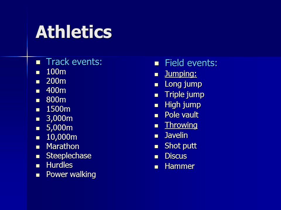Athletics Track events: Track events: 100m 100m 200m 200m 400m 400m 800m 800m 1500m 1500m 3,000m 3,000m 5,000m 5,000m 10,000m 10,000m Marathon Maratho