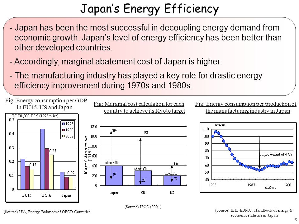 - Japan has been the most successful in decoupling energy demand from economic growth.