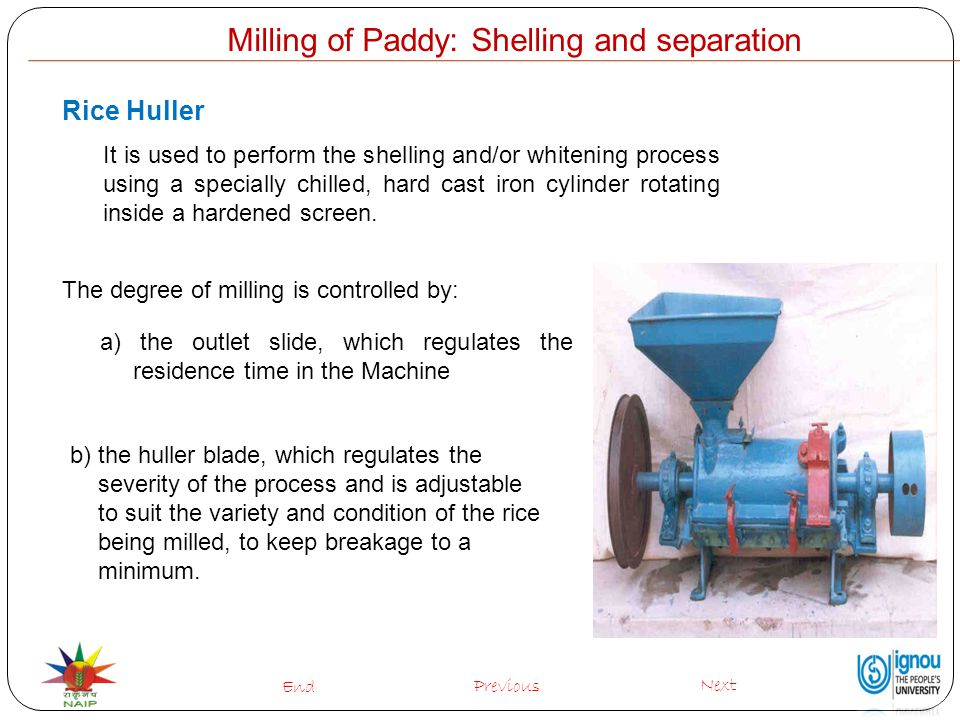 Milling of Paddy: Shelling and separation Rice Huller It is used to perform the shelling and/or whitening process using a specially chilled, hard cast