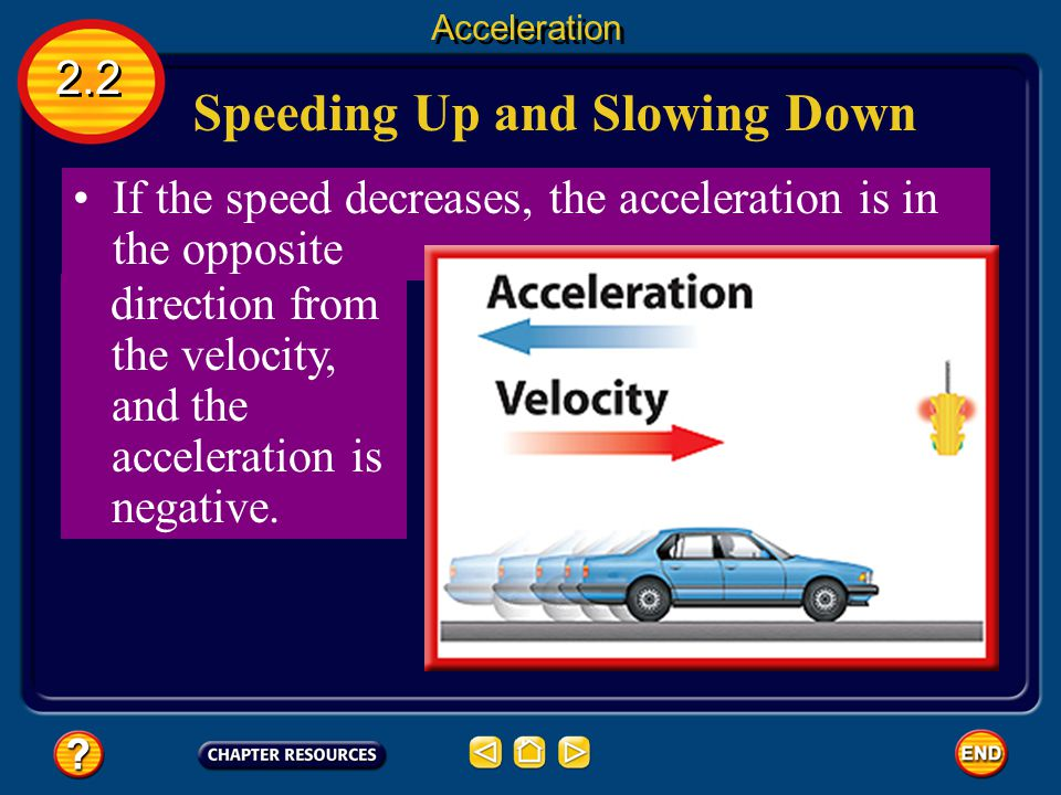 Speeding Up and Slowing Down 2.2 Acceleration If the acceleration is in the same direction as the velocity, the speed increases and the acceleration i