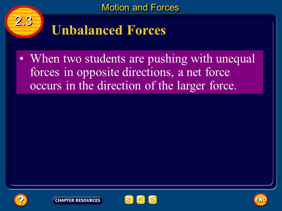 Balanced Forces The net force on the box is zero because the two forces cancel each other. balanced forces Forces on an object that are equal in size