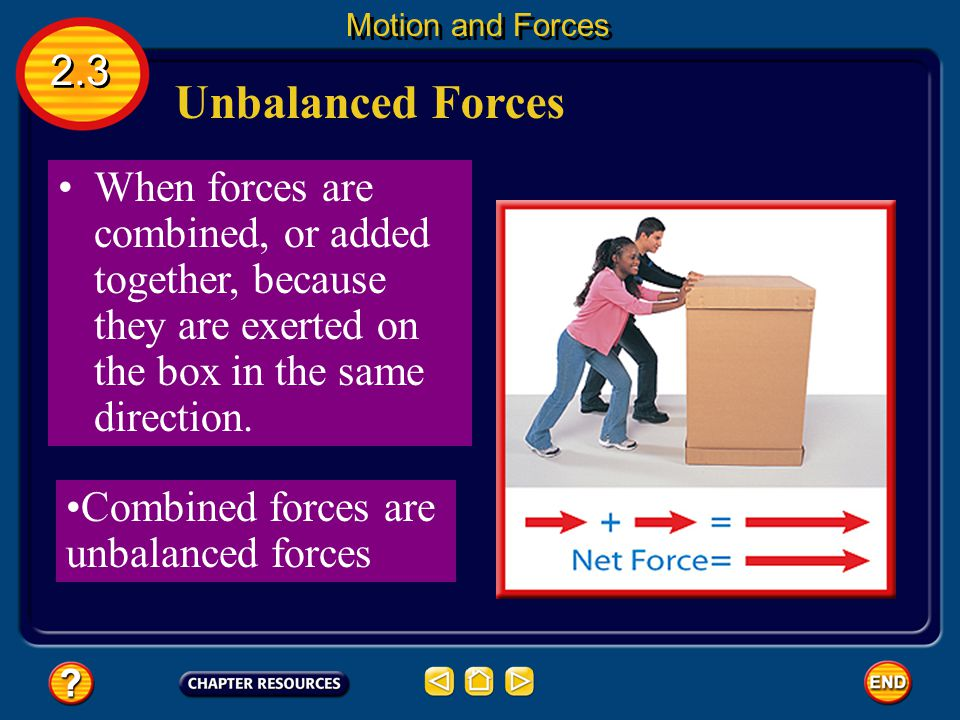 Unbalanced Forces 2.3 Motion and Forces When one student pushes harder than the other  unbalanced force Unbalanced forces - Forces on an object are n